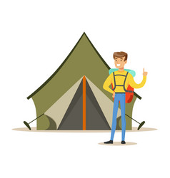 smiling man with a backpack standing near a vector image vector image