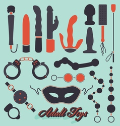 Adult Sex Toys Silhouettes vector image