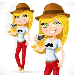 Cute hipster girl with a camera isolated on white vector image vector image