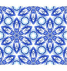 Kaleidoscopic pattern blue flower vector