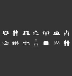 people group icon set grey vector image