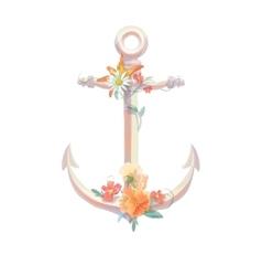 Watercolor anchor flowers viola lili vintage vector image