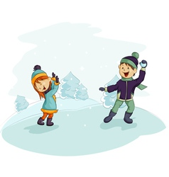a snowball fight vector image vector image