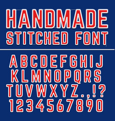 handmade embroidered font alphabet vector image vector image