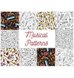 Musical instruments and notes pattern backgrounds vector image