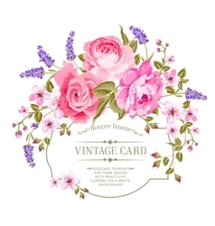 Pink peony vintage label vector image vector image