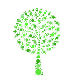 tree mosaic of green dots on white background vector image vector image