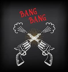 Vintage revolver sketch design Shooting colt vector image