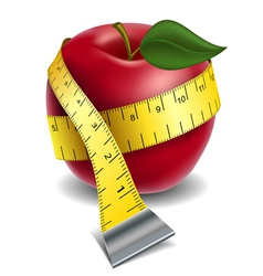 Apple with tape measure vector image vector image