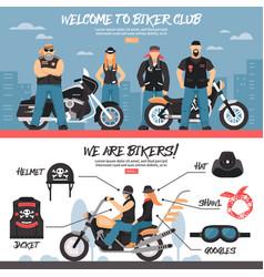 biker club banners set vector image vector image