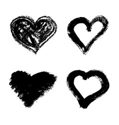 set of hand drawn grunge hearts isolated on white vector image vector image