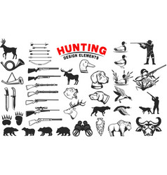 set of hunting design elements hunting dogs vector image vector image