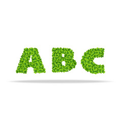 alfavit from the leaves of the clover letters abc vector image