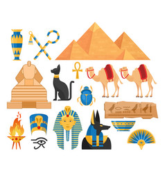 ancient egypt symbols cartoon colorful vector image