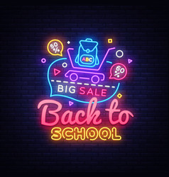 back to school concept banner in fashionable neon vector image