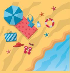 Beach umbrella bikini sandals hat bag towel vector