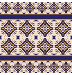Blue and yellow ceramic tile pattern vector