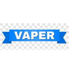 Blue ribbon with vaper text vector