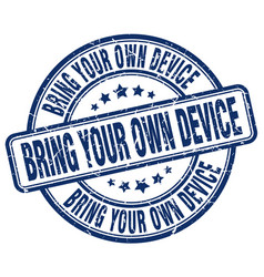 Bring your own device blue grunge stamp vector