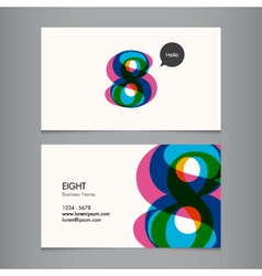 Business card with number 8 vector