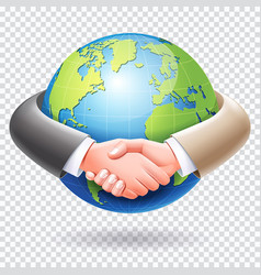 business people handshake around the world globe vector image