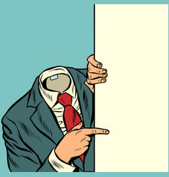 businessman pointing at copy space background vector image