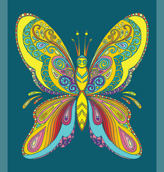 butterfly coloring book anti-stress vector image