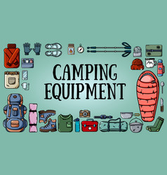 camping equipment banner with set of tourist items vector image