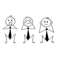 Cartoon of three wise businessmen who see hear vector
