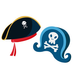 Cartoon pirate hats with a vector