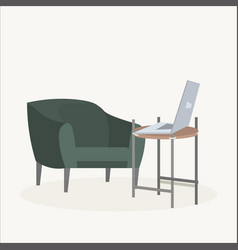 chair table and laptop modern office or home vector image