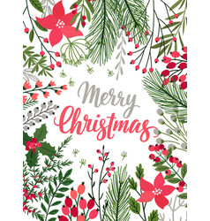 christmas calligraphic card - hand drawn floral vector image