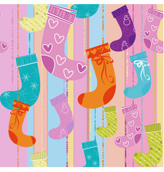 christmas gift socks vector image