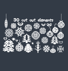Christmas handmade cut out collection vector