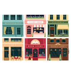 city building vintage facade set cartoon house vector image