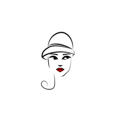 cloche hat girl icon element beautiful girl in vector image