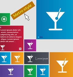 cocktail icon sign buttons Modern interface vector image