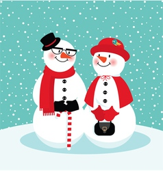 Couple of snowmen vector