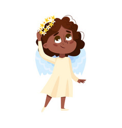 Cute baby angel angelic african american girl vector