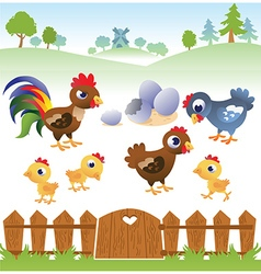 Cute cartoon hen rooster and chicken with vector