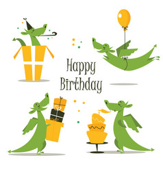 cute dragon celebrating birthday vector image