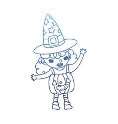 Degraded outline happy girl with pumpkin costume vector