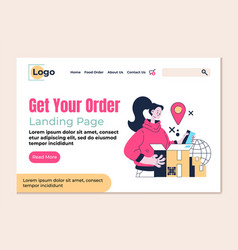 delivery get your order landing page flat vector image