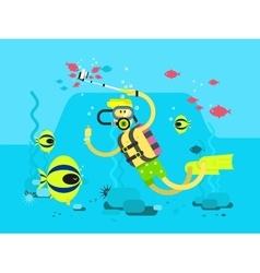 Diver character flat design vector image