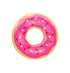donut with pink glaze color donut icon cute pink vector image