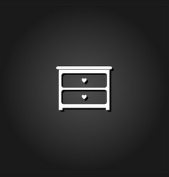 dresser with drawers icon flat vector image