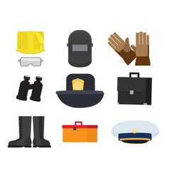 Equipment of professions on whitey background vector