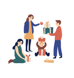 family members or relatives exchanging festive vector image