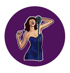 Female singer in karaoke jazz or blues club live vector