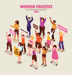 Feminists protest action isometric vector